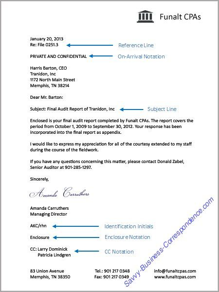 Business letter with additional letter elements reference line on business letter with additional letter elements reference line on arrival notation subject line identification initials enclosure notation and cc spiritdancerdesigns Image collections