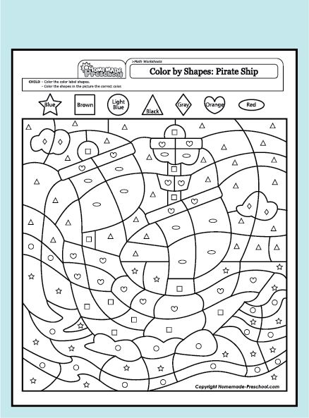 my free preschool math worksheets shapes will help teach counting numbers and problem solving in exciting ways each is fun to color and full of activity