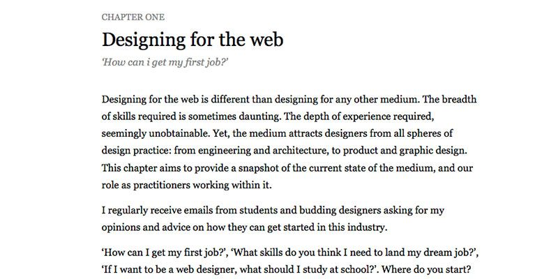 Designing For The Web Is A Free Online Web Design Ebook From Mark Boulton Web Design Online Web Design Free Web Design