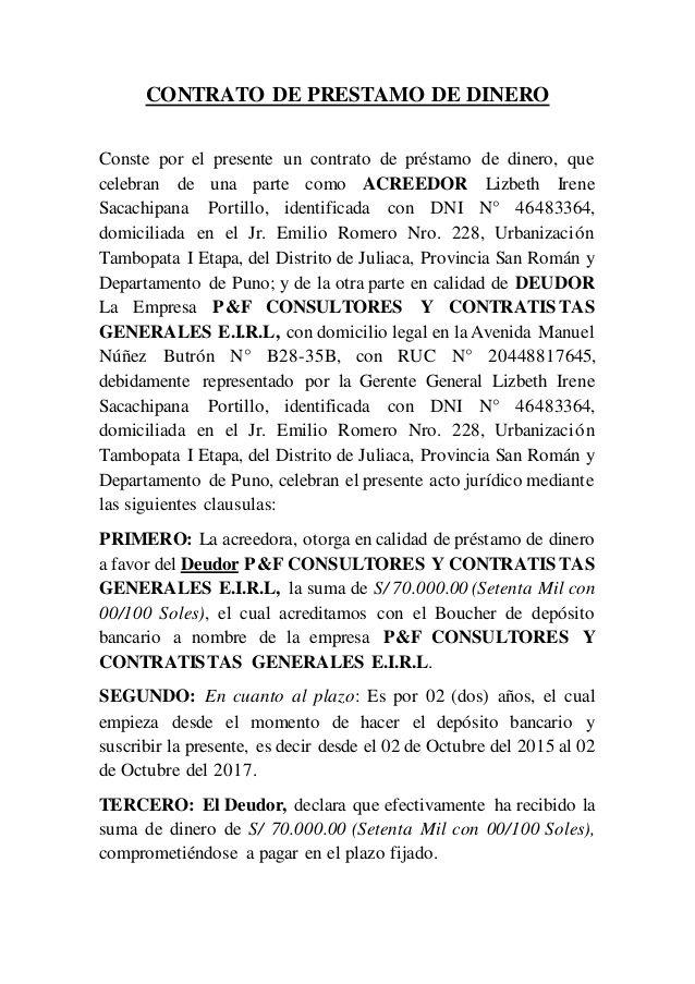 CONTRATO DE PRESTAMO DE DINERO  Conste por el presente un contrato de préstamo de dinero, que  celebran de una parte como AC...