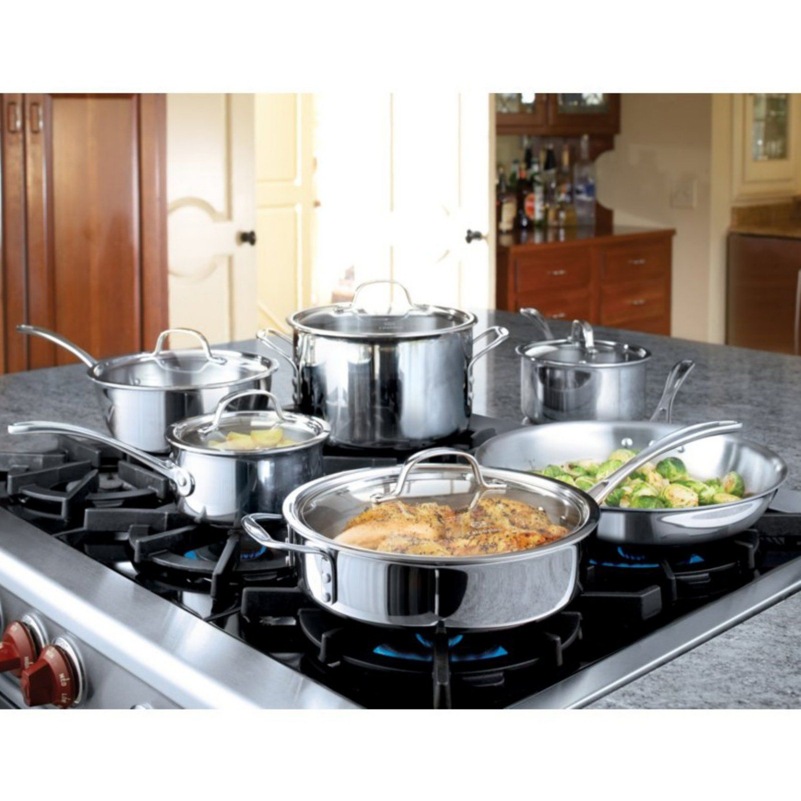 Calphalon Tri Ply Stainless Steel 13 Piece Cookware Set