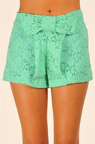 Mint lace bow shorts.