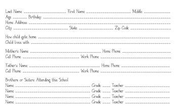 Student Info Card 5x8 Index Card Student Info Beginning Of School Meet The Teacher