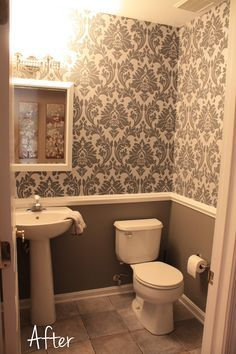 love the chair rail with wallpaper. need a diff design though