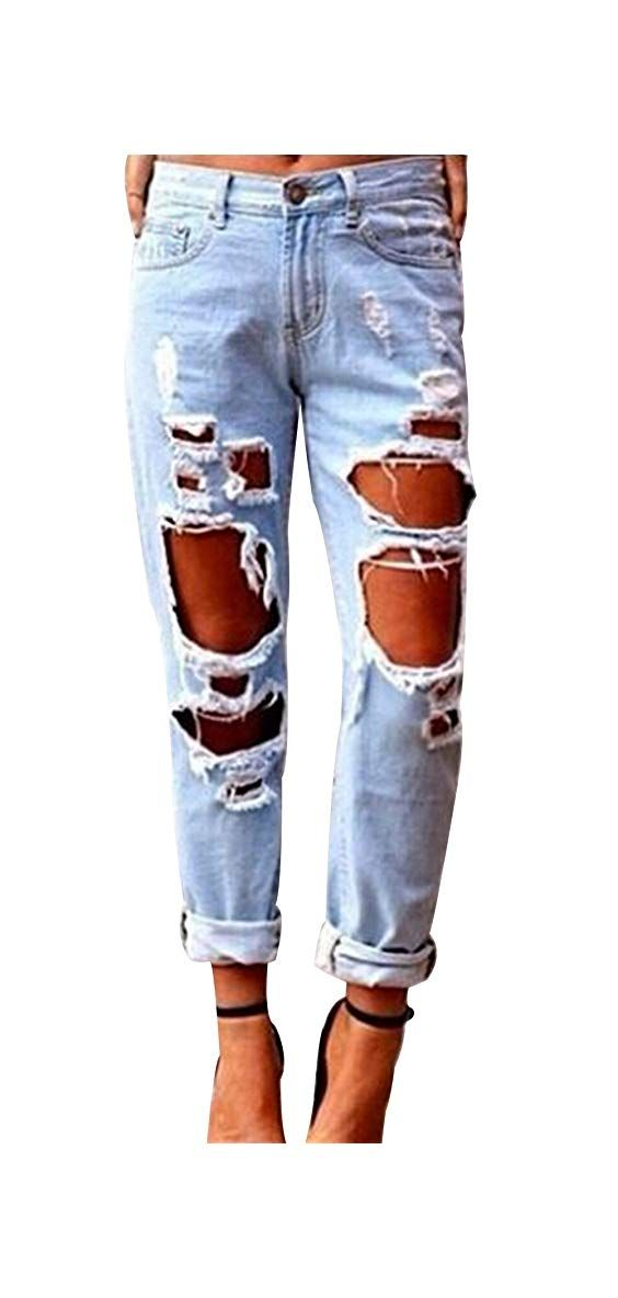 Photo of Jean Ripped Mom Womens Jean Ladies Stretch Ripped Faded Ripped Mom Slim Fit Skinny Denim Jeans