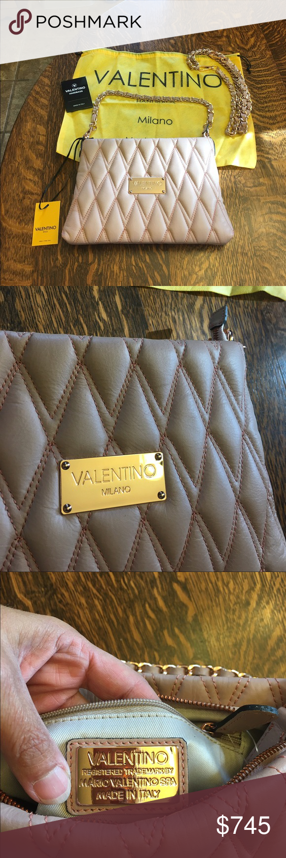 e0b4277997 Mario Valentino Spa Bag - Authentic Gorgeous quilted leather dusty pink bag  with rose gold accents