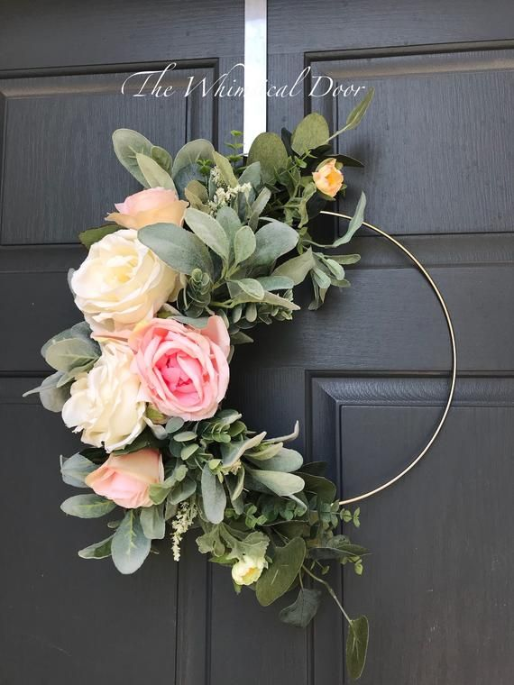 Boho hoop wreath bohemian floral wreath wedding wreath bridal wreath baby shower wreath rose wreath Farmhouse wreath floral hoop wreath #shadesofwhite