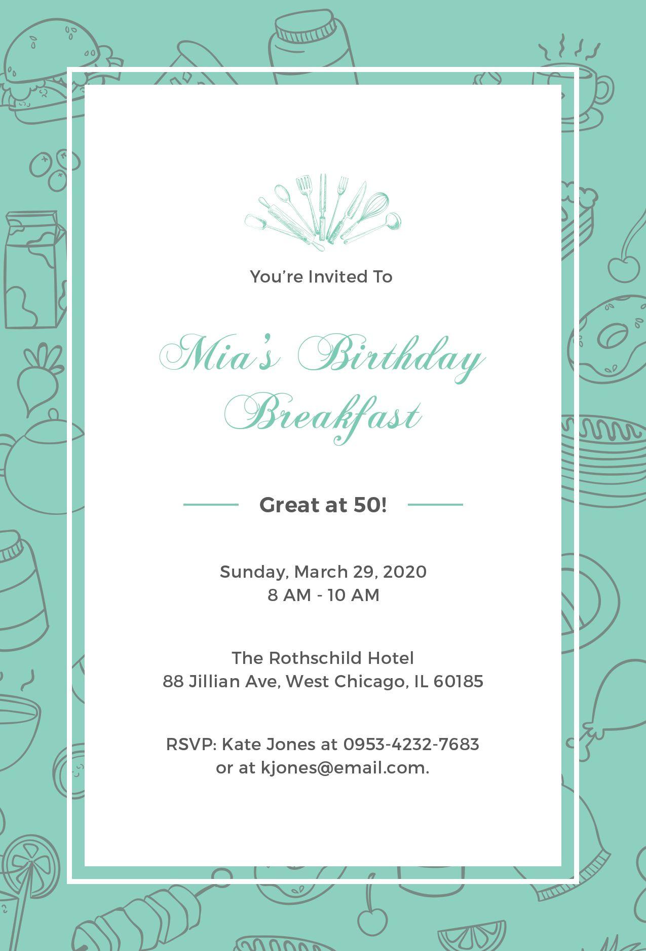 FREE Birthday Breakfast Invitation Template - Word  PSD