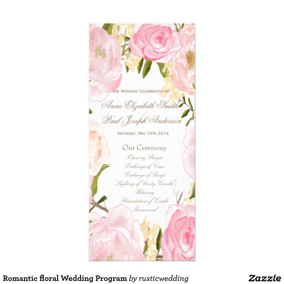 Romantic floral Wedding Program Customized Rack Card