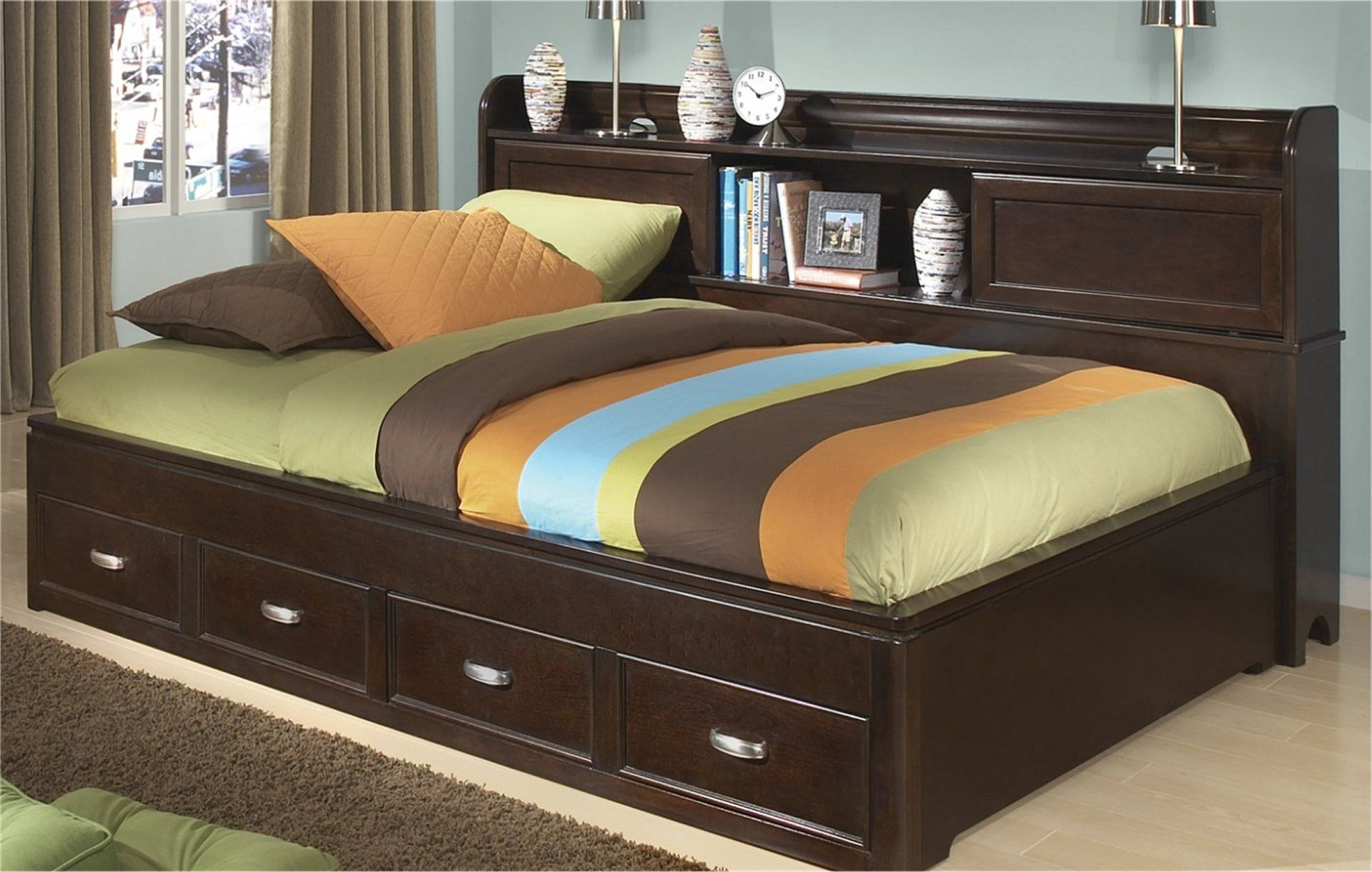 A best seller! The Island bed with storage in the headboard and