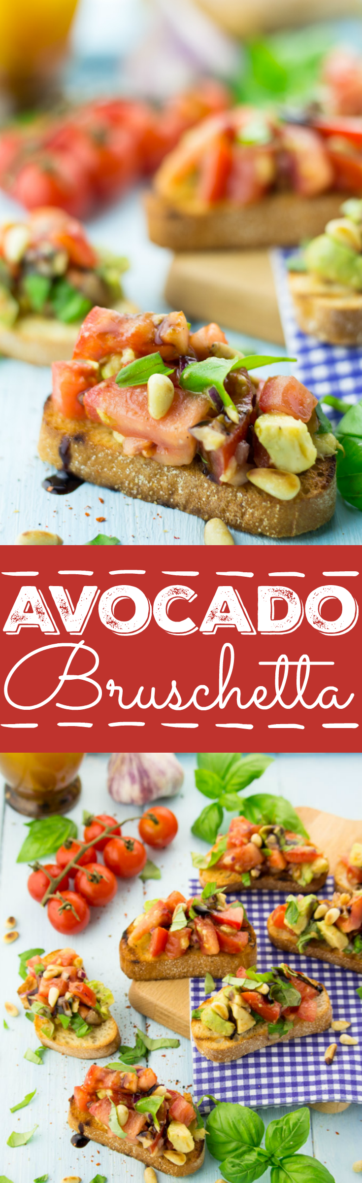 These vegan tomato and avocado bruschetta with balsamic reduction and pine nuts are perfect to embrace summer! I love bringing them along to BBQs and parties.