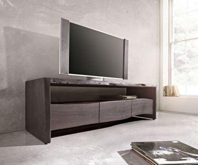 Fernsehtisch Live-Edge Akazie Tabak 145x46cm Ablagefach offen - wohnzimmer offen gestaltet