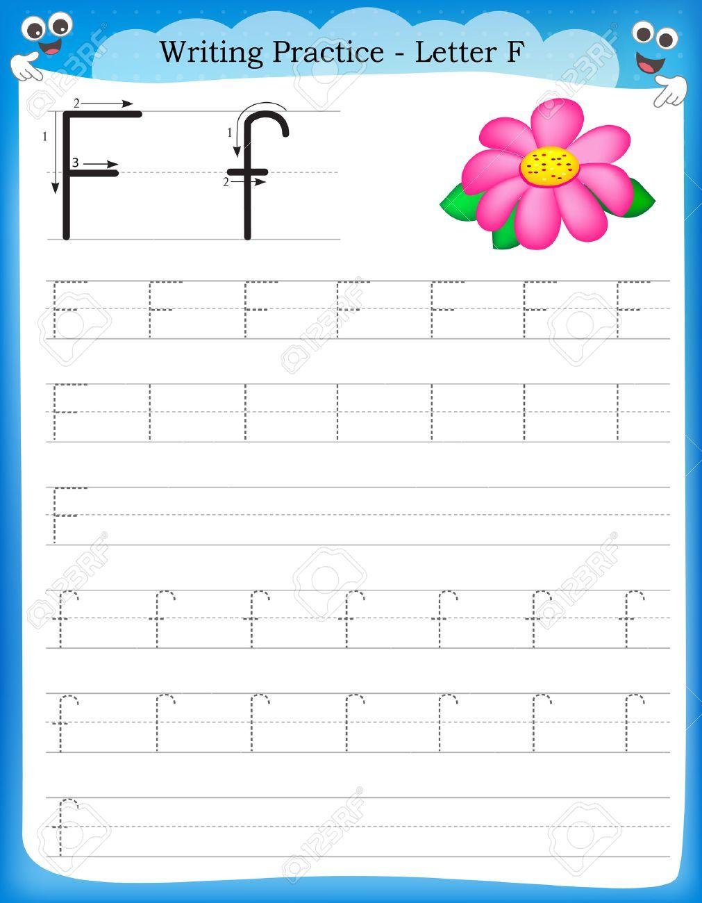 Práctica de escritura la letra F hoja de trabajo infantil para ...