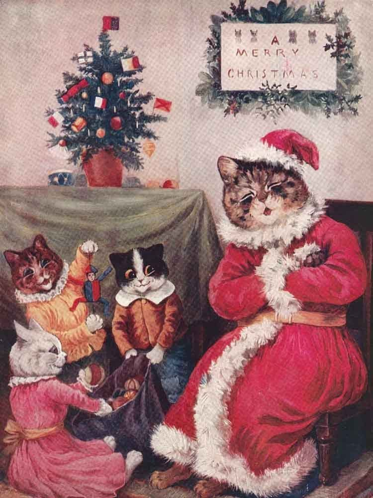 Happy Christmas 2013 In 2020 Cat Christmas Cards Vintage Christmas Cards Christmas Note Cards