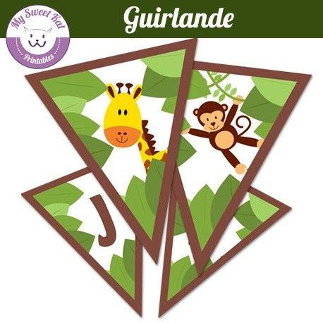 Guirlande imprimer sur le th me de la jungle et ou safari anniversaire safari pinterest - Decoration animaux de la jungle ...