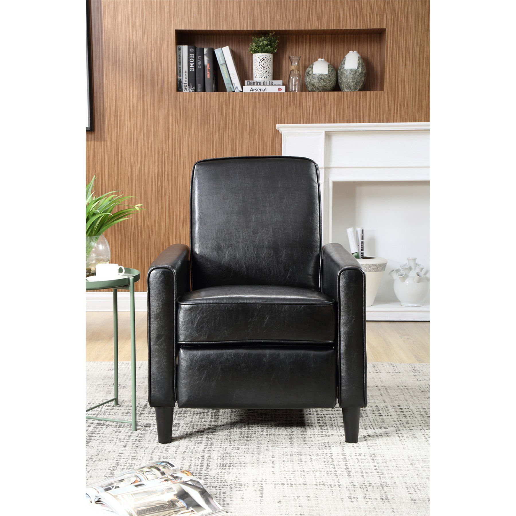 Nathaniel Home Push Back Faux Leather Recliner 73028 89bk