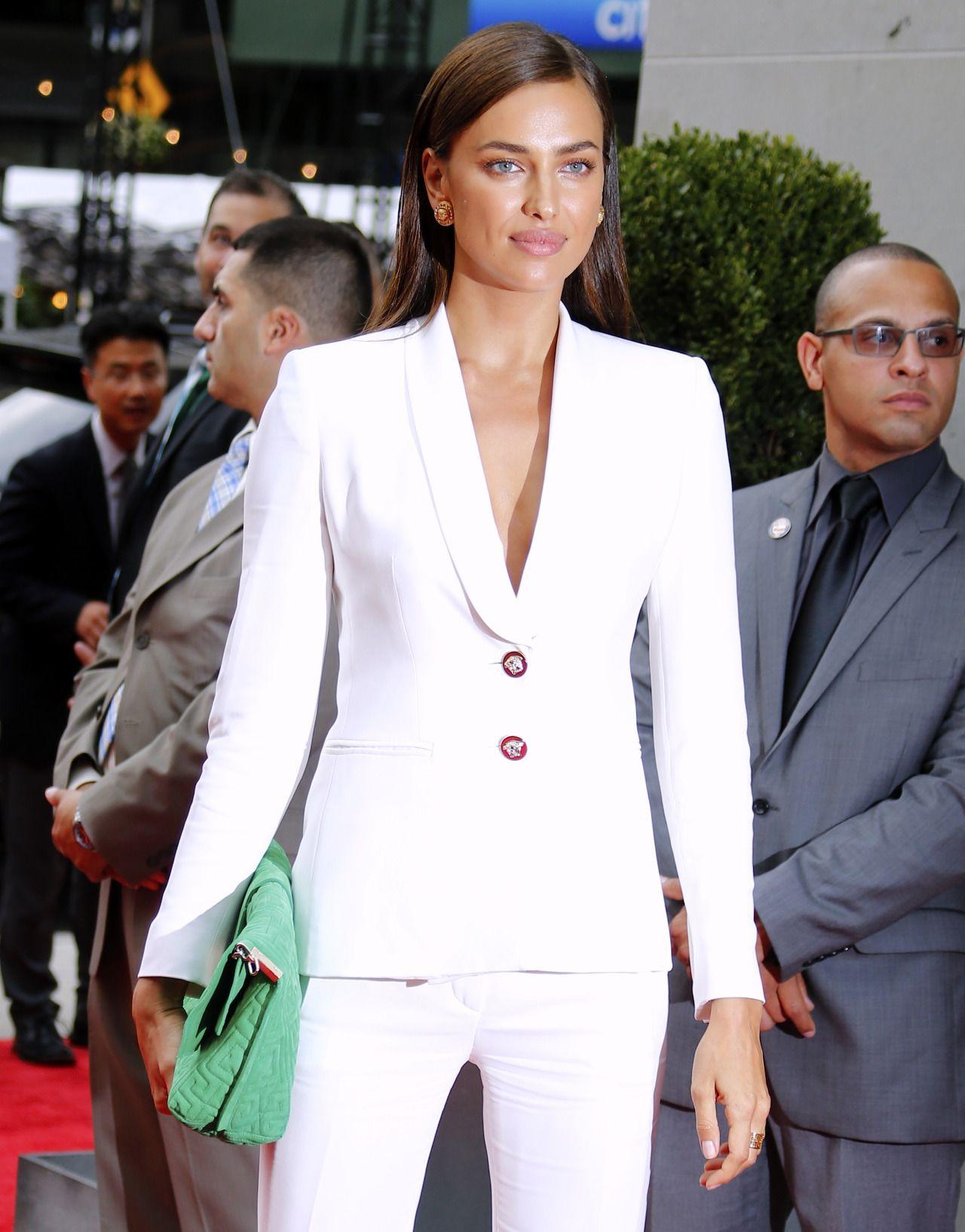 e649f9704cc Elegant Irina Shayk wearing Versace white suit.  versace  irinashayk ...