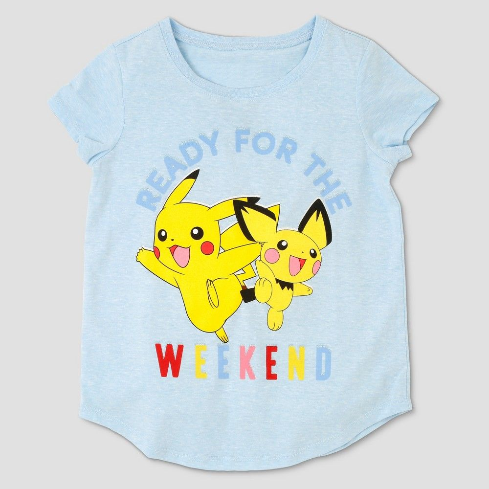 3d70eab49 Girls' Pokemon Pikachu 'Ready For The Weekend' Short Sleeve T-Shirt - Blue  XS
