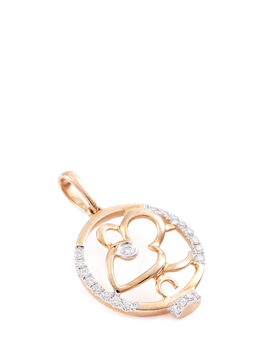 gold white diamond product pendant rabbit lazo zodiac chinese