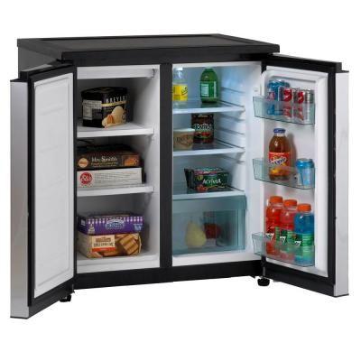 Avanti 5 5 Cu Ft Mini Refrigerator In Black With Dual Platinum Finish Doors Rms550ps Mini Fridge With Freezer Undercounter Refrigerator Refrigerator Freezer