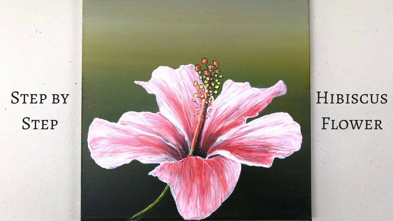 Colorbyfeliks Step By Step Hibiscus Flower Acrylic Painting On Canvas Youtube Acrylic Painting Flowers Easy Flower Painting Abstract Flower Painting