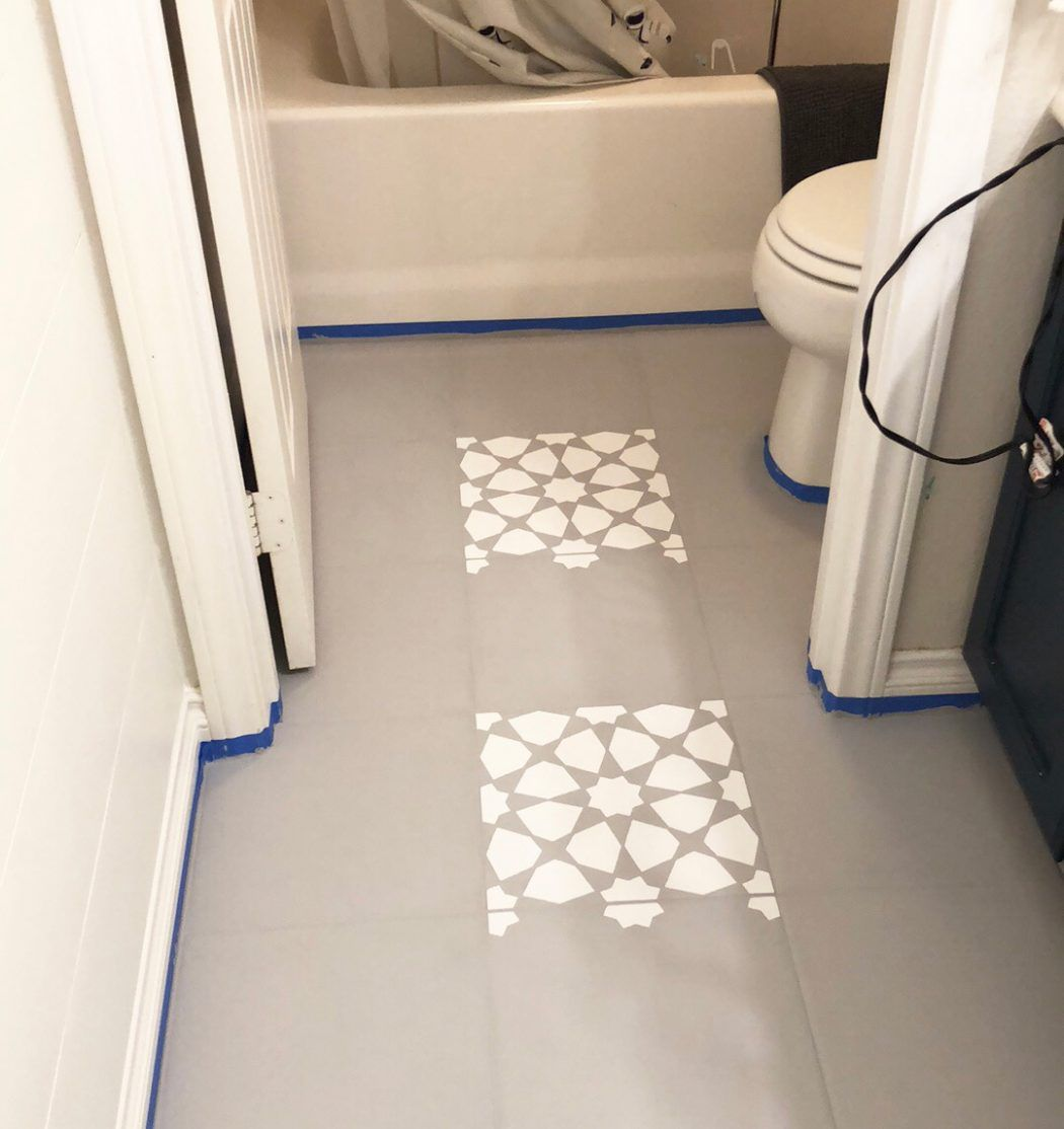 How To Paint A Bathroom Floor To Look Like Cement Tile For Under 75 Painted Bathroom Floors Painting Bathroom Tiles Painting Bathroom