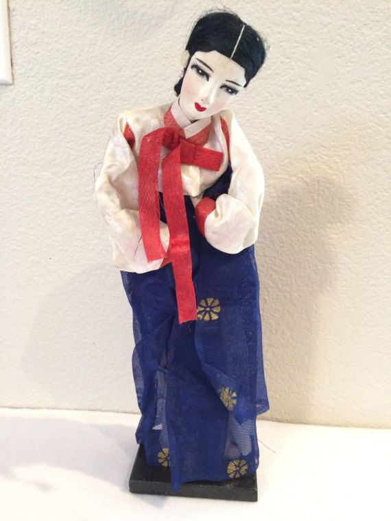 Vintage Park's Korean 13 1/4 Doll on Stand by KMSCollectibles