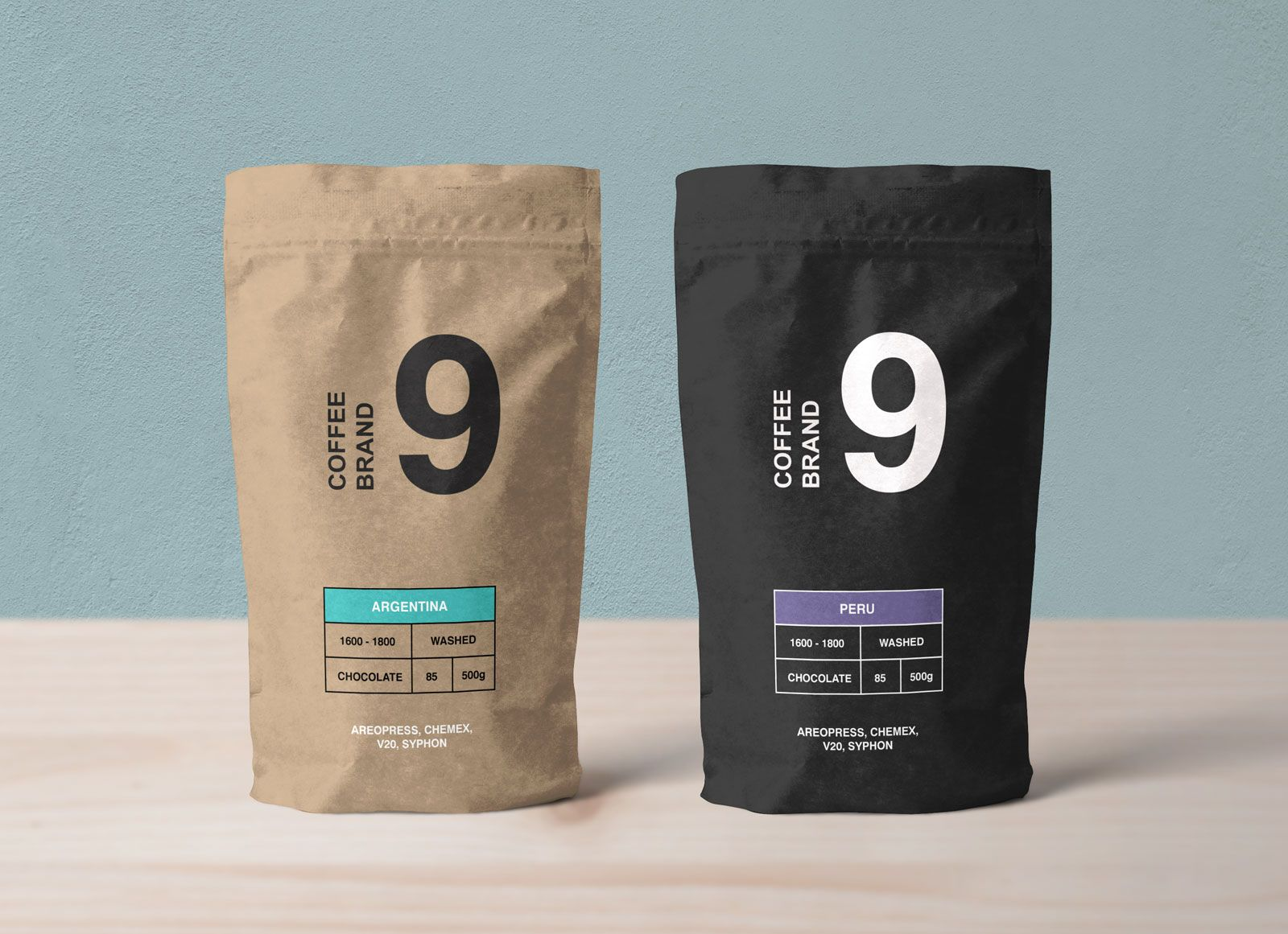 Download Free Kraft Paper Coffee Standing Pouch Packaging Mockup ...