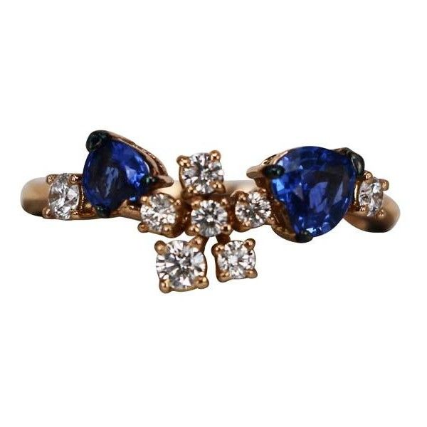 """Ferrari Firenze """"""""Corolla"""""""" Sapphire Ring ($2,500) ❤ liked on Polyvore featuring jewelry, rings, leaf ring, 18 karat gold ring, sapphire jewellery, 18k jewelry and 18k ring"""