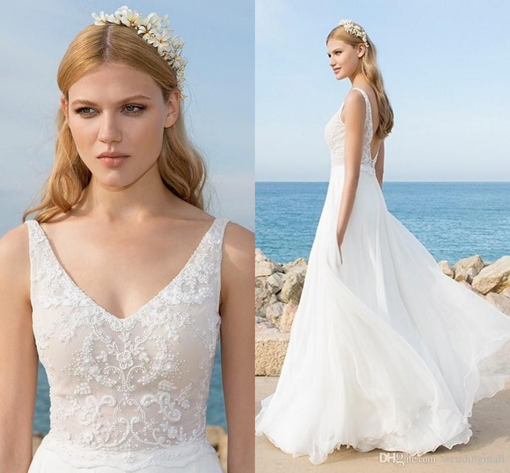 2016 Hila Gaon Chiffon Beach Wedding Dresses Backless V