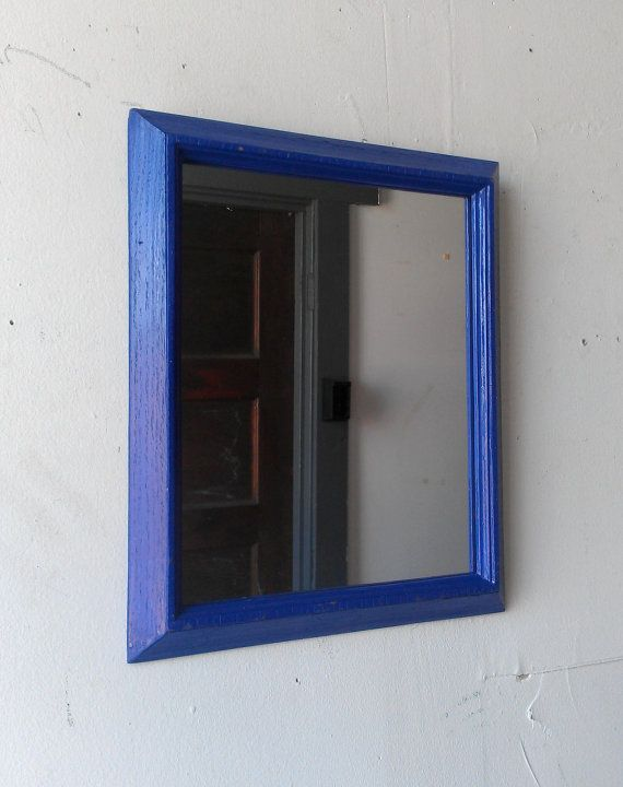 Decorative Wall Mirror in Denim Blue Vintage Wood Frame 11 x 9 ...