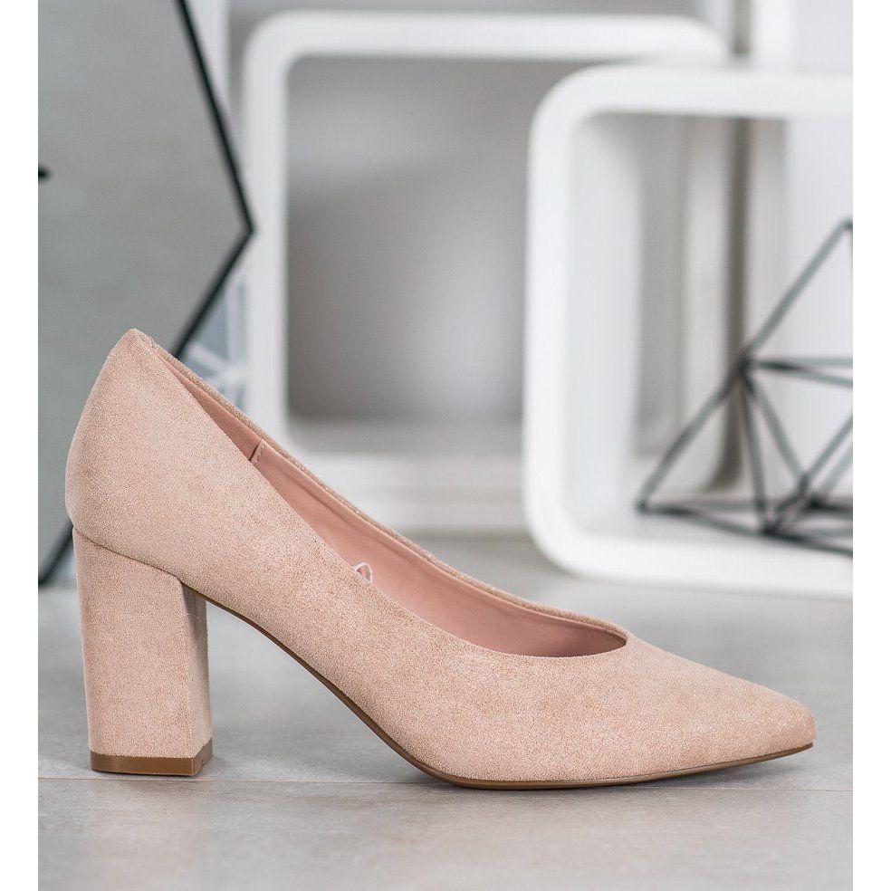 W Potocki Czolenka Z Brokatem Bezowy Zloty Heels Pumps Shoes