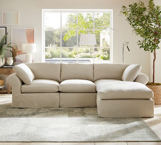 Pb Air Slipcovered 4 Piece Sofa With Chaise Sectional Pottery Barn