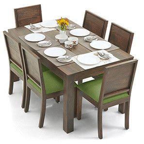 Arabia Oribi 6 Seater Dining Table Set Teak Finish Avocado