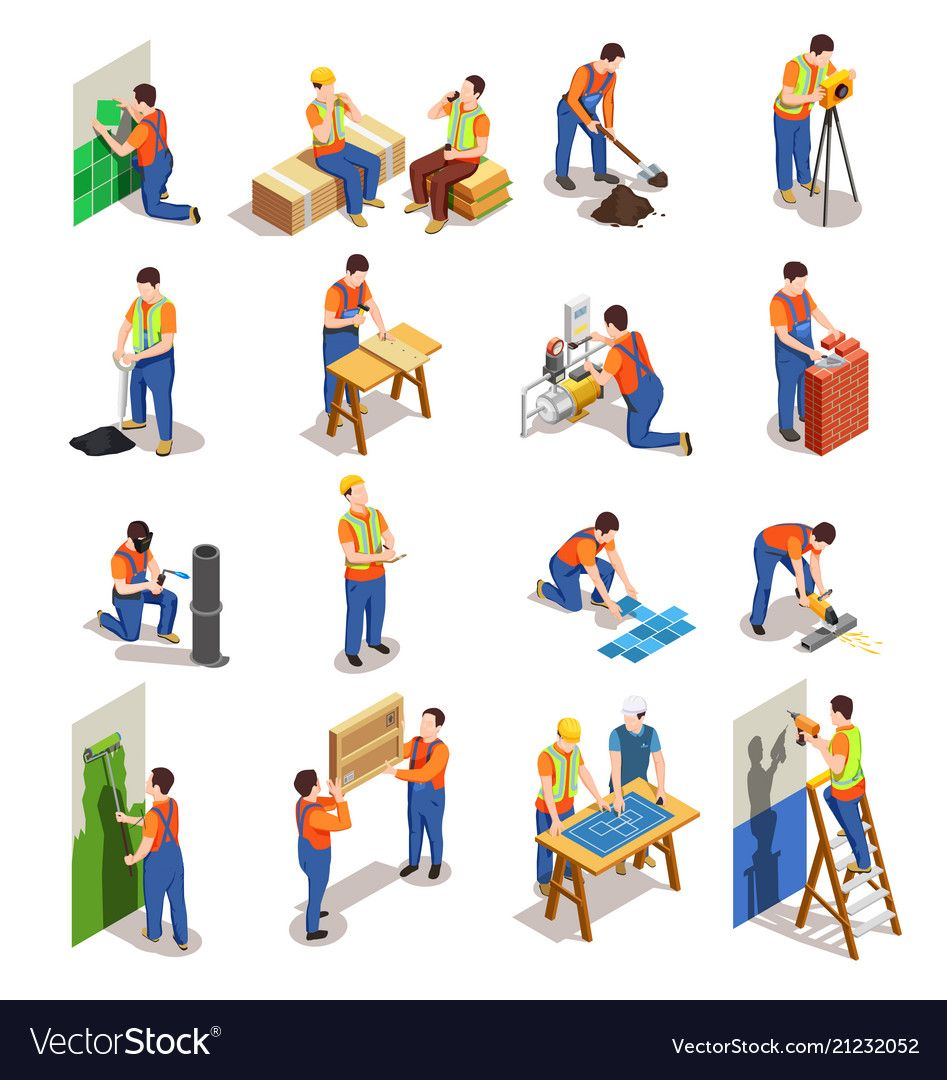 Construction workers isometric people vector image on VectorStock