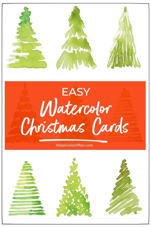 Easy watercolor Christmas card tutorial. Make your own watercolor cards for your friends & family... #easydiy