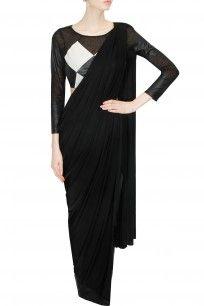 Black and white leather draped sari
