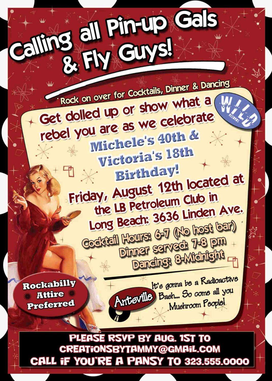 Rockabilly Vintage Retro Birthday Party Invitation   keala\'s sweet ...