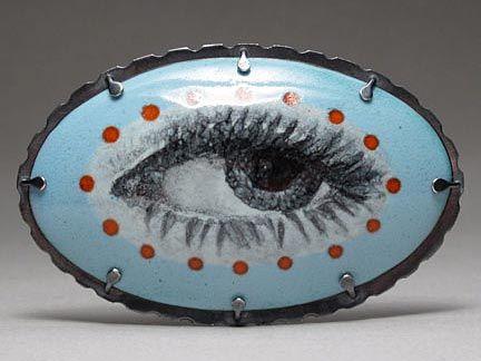 Jessica Calderwood - 'Portrait of an Eye' Brooch/Pendant – Enamel on copper, sterling, stainless steel