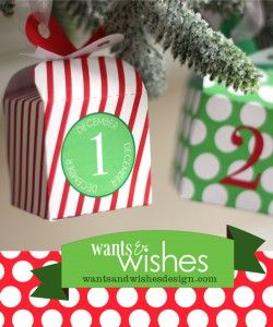 Printable Present Advent Calendar by Wants and Wishes via lilblueboo.com/shop