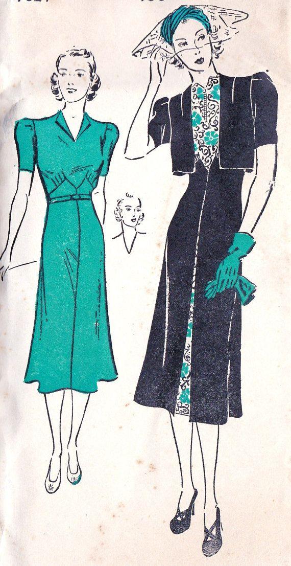 1930s Misses Dress and Bolero Vintage Sewing Pattern, Dinner Dress ...
