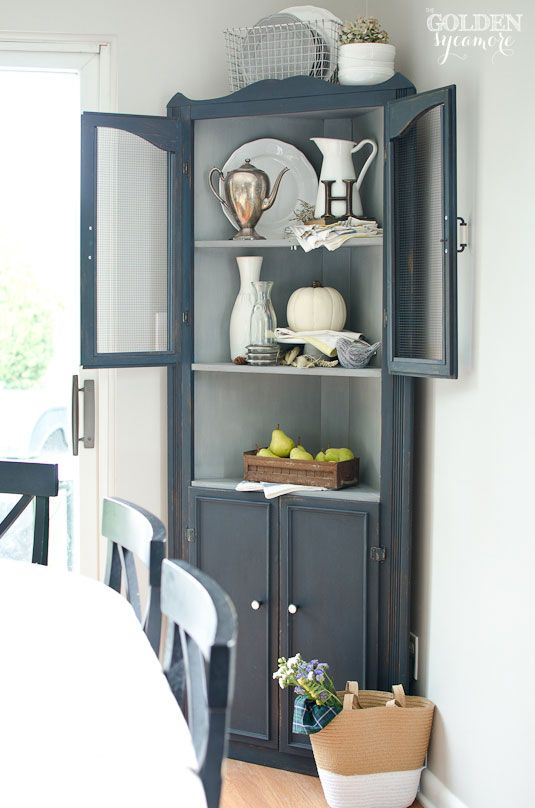 Friday favorites cupboard milk paint and corner for Painted dining room hutch ideas