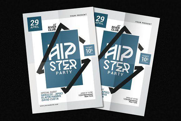 Hipster Party Flyer by muhamadiqbalhidayat on @creativemarket