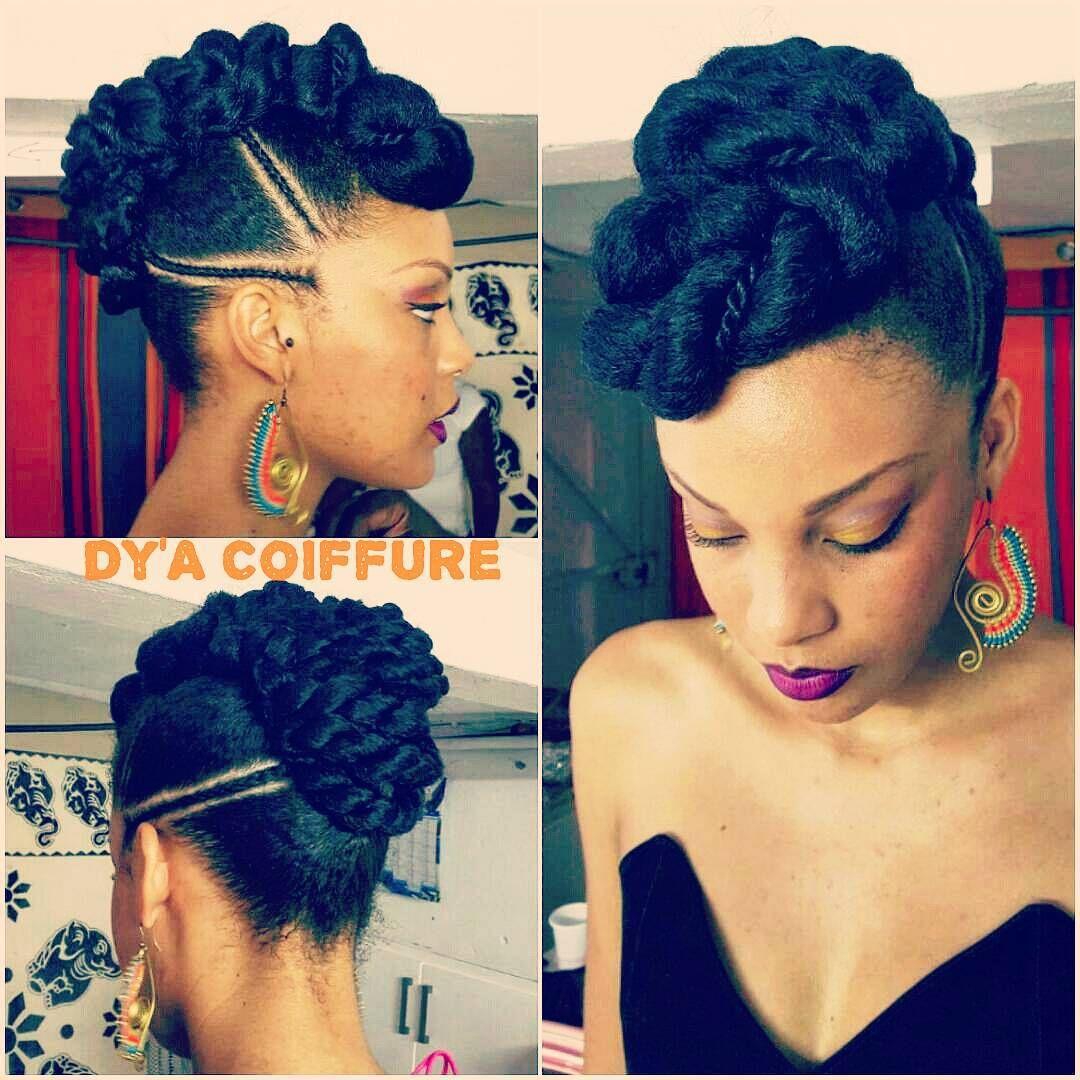 Chignon Mohawk Updo Protectivestyles Tresses Cornrows Twist Braider Dyacoiffure Gwada 971 Natural Hair Styles Natural Hair Updo Afro Hairstyles