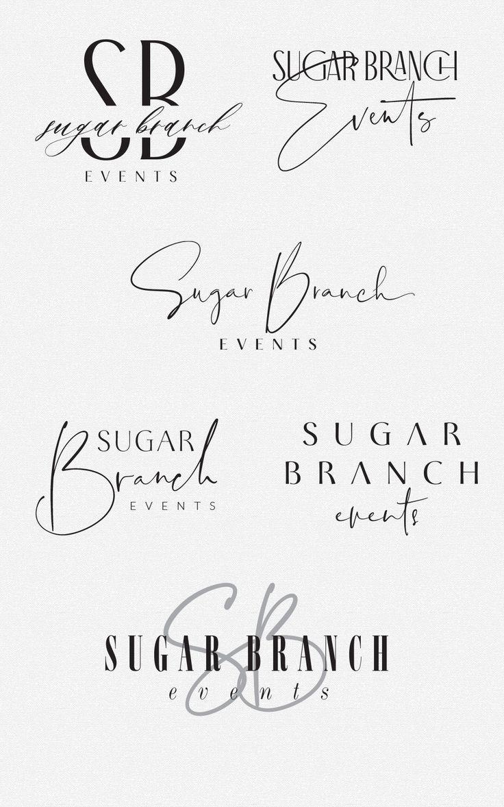 sleek and sassy logo design options for Sugar Branch Events by Fancy Girl Design Studio
