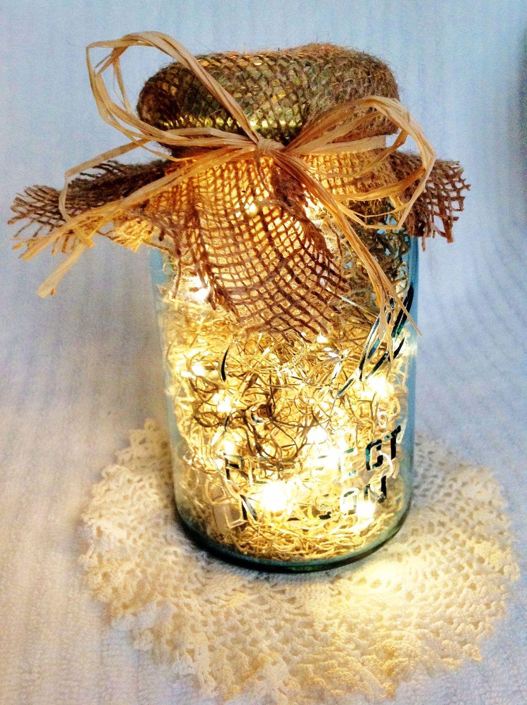 Vintage mason jar firefly lantern wedding centerpiece for Burlap lights