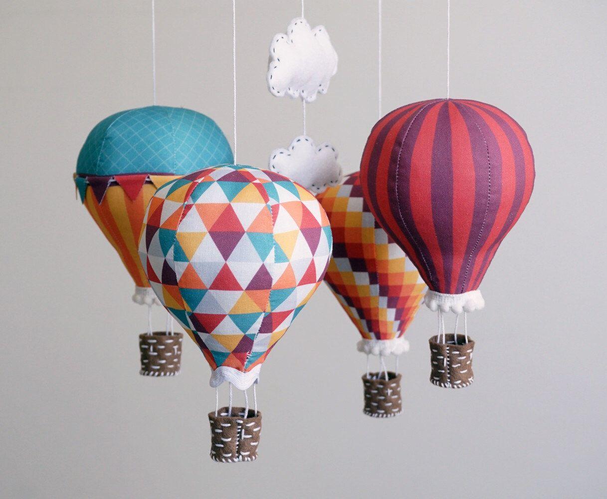 Nursery decor DIY baby mobile kit hot air balloon modern
