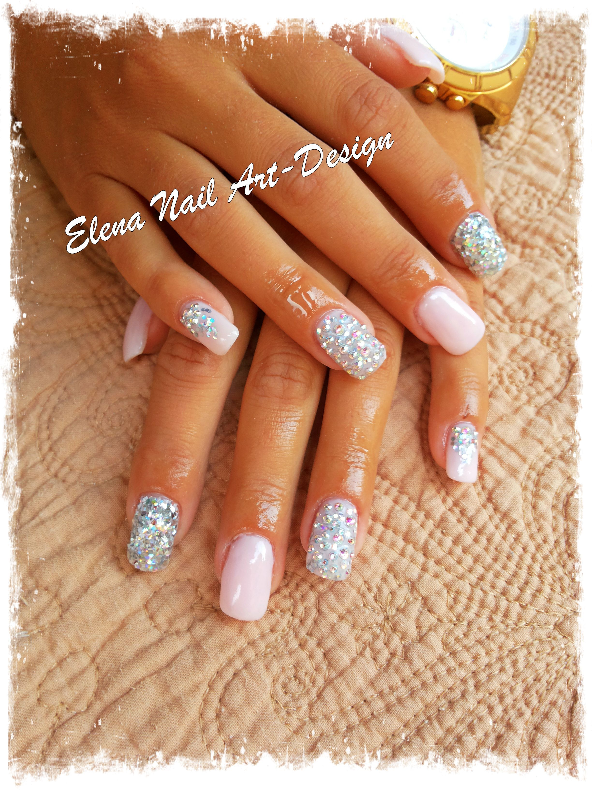 pink gel nails with glitter & strass.... | Nails | Pinterest