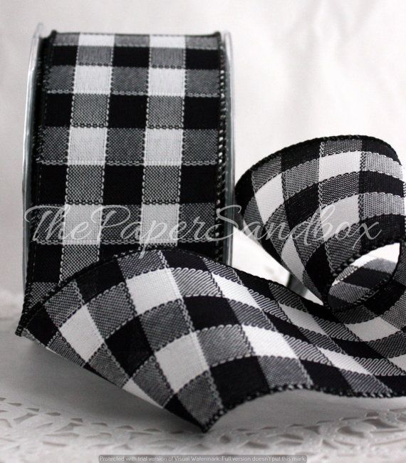 Black White Buffalo Plaid Ribbon 2 5 Inches Wide By The Yard Wired Black And White Check Ribbon Buffalo Plaid Ribbon Black And White Ribbon Black And White Decor