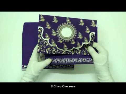 Handmade Hindu Wedding Invitations   W-8207G   123WeddingCards - YouTube